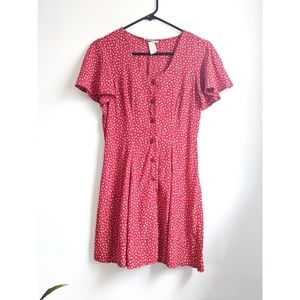 Vintage 90s Red Floral Button Front Mini Dress